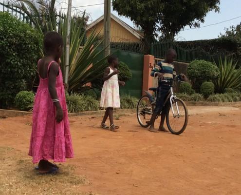 Children playing in street in Kampala