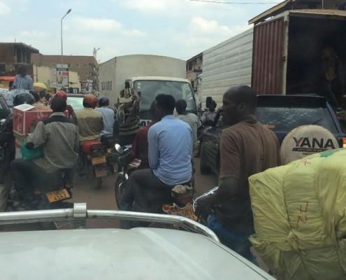 Traffic in Kamapala with boda boda
