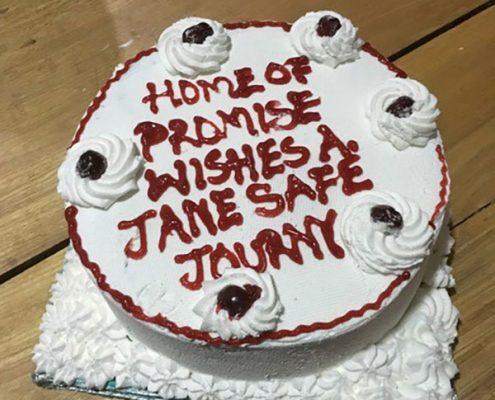 Janes leaving cake