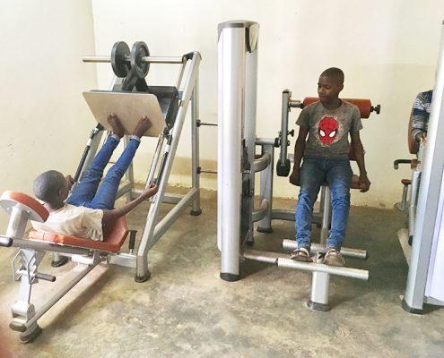 Street children using the gym