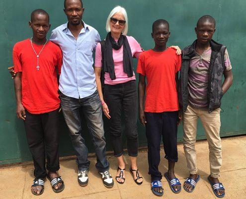 Jane, Bob and three of the street children