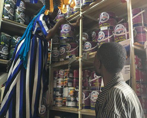 Buying paint in Uganda