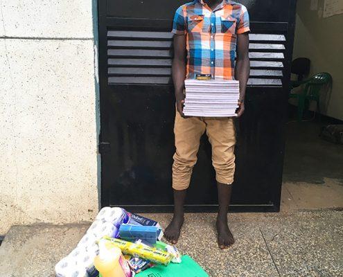 One of the street boys preparing for school