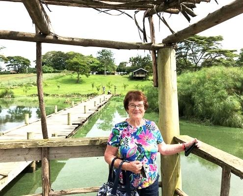 Sue enjoying Jahazi Pier