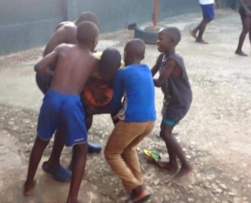 Street boys playing football