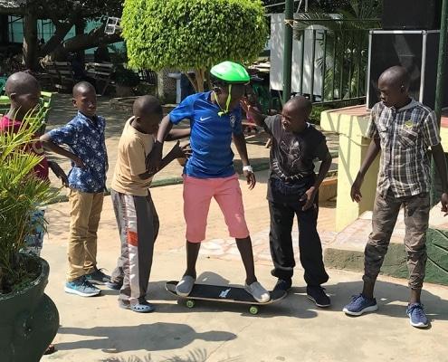 Street boys skateboarding
