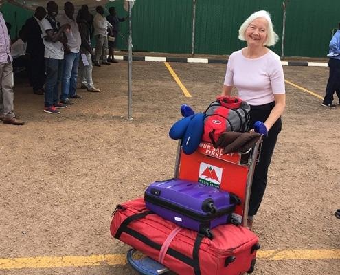 Jane arriving in Kampala