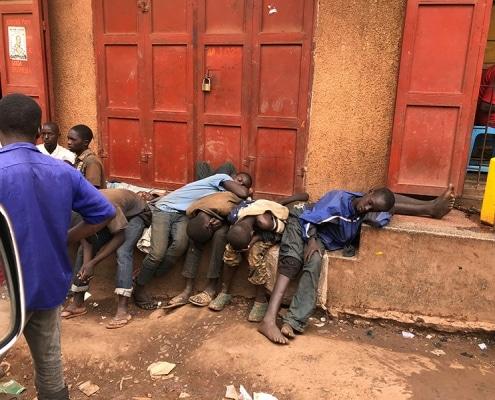 Street children sleeping