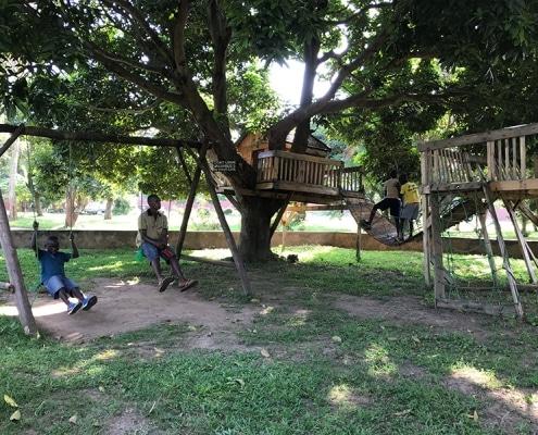 Boys enjoying the swings