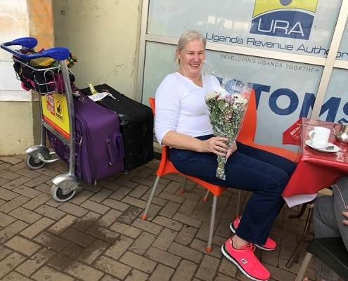 Jackie arriving at Entebbe
