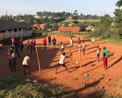 Street boys playing football in Uganda