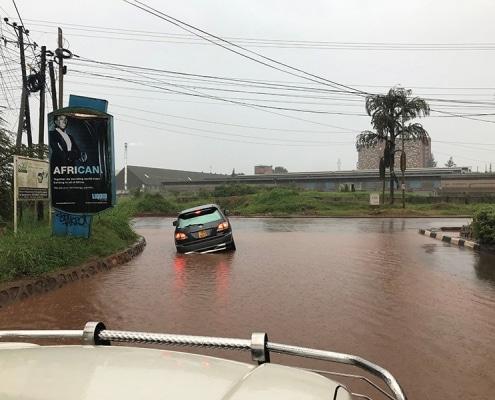 Flooded roads in Kampala