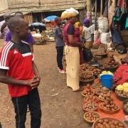 Shopping at a Kampala street market