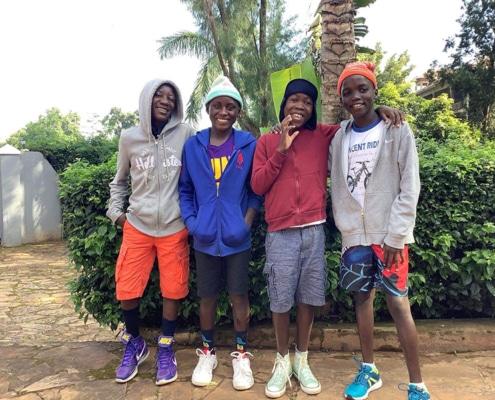 A group of Ugandan street children