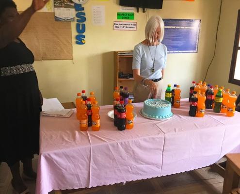 Jane's birthday cake and sodas