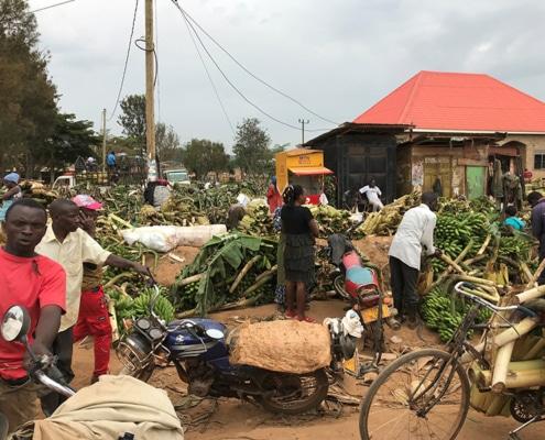 Buying Matoke at a market