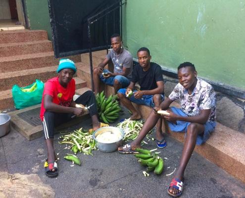 Street children preparing food