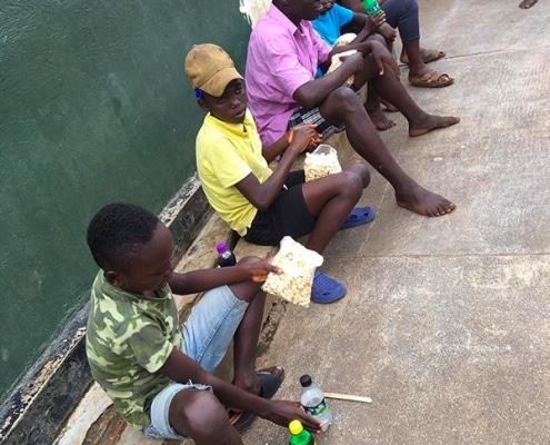Street children with popcorn