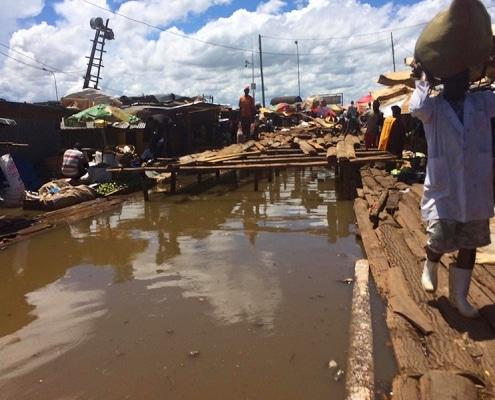 Walkways in Ggaba market