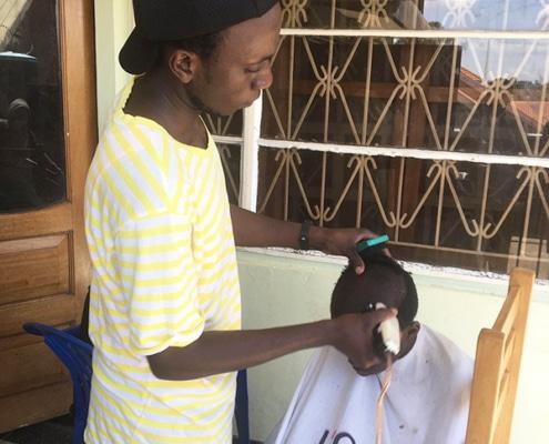 Our boys getting their hair cut