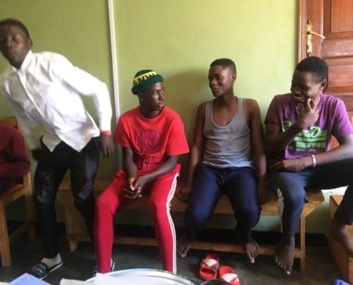 Street children at a meeting