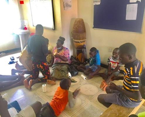 Street children learning new skills