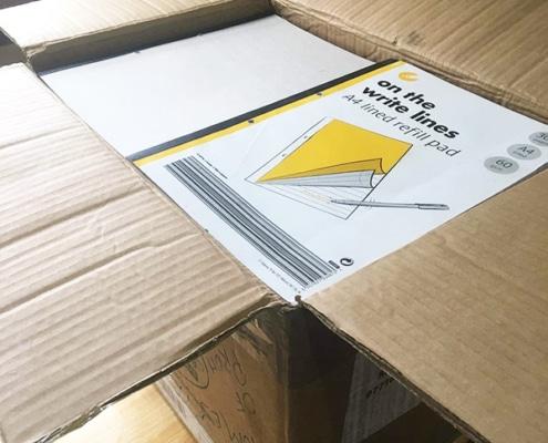 Donated notepads arrive in Uganda