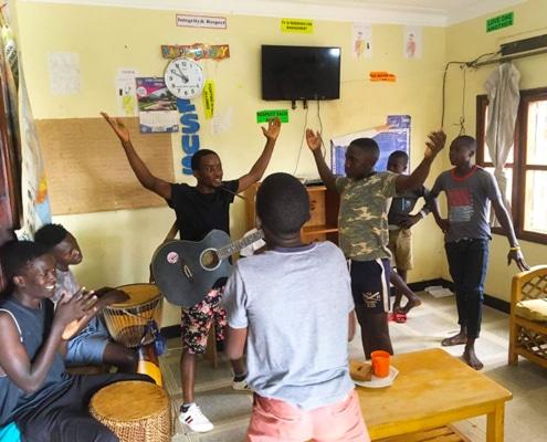Street children at Sunday worship