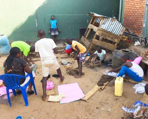 Street children doing Art classes