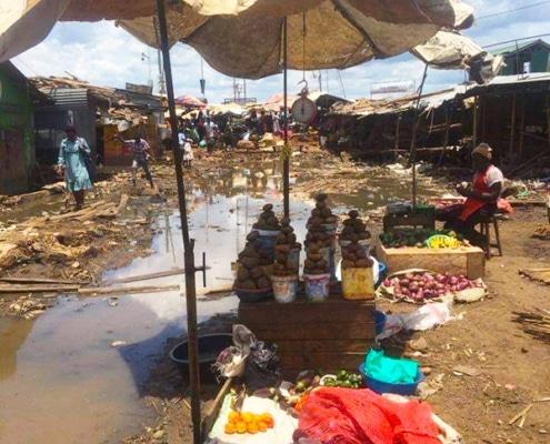 Flooding in Ggaba market