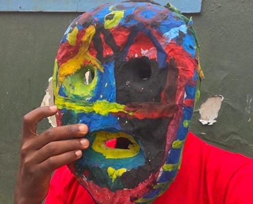 Impressive paper mache mask