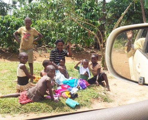 Donating knitting gifts in Uganda