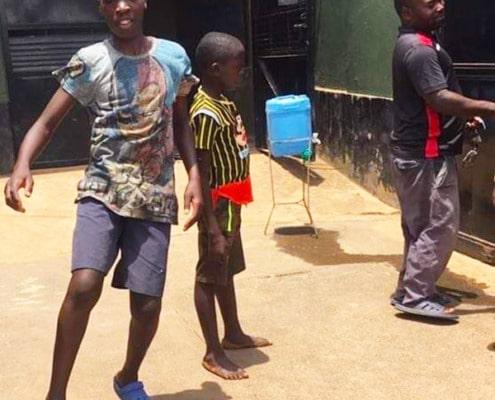 Former street children playing football