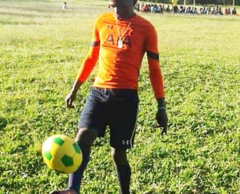 Anton practicing his football skills