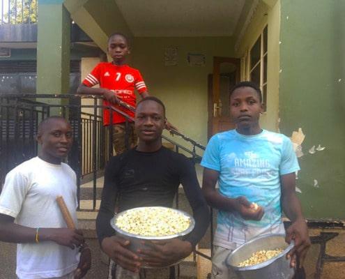 Our boys preparing popcorn