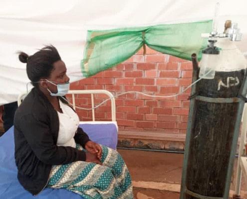 Flavia in the hospital in Uganda