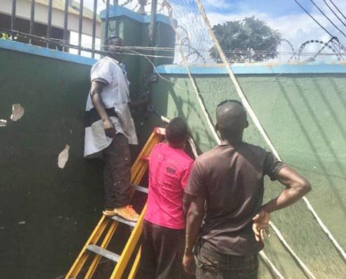 Installing the football net