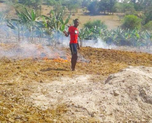 Anton burning his land to help grow crops