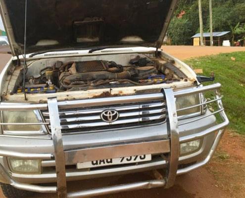 Our broken down car in Uganda