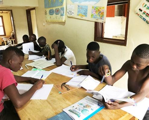 Our boys doing their school work