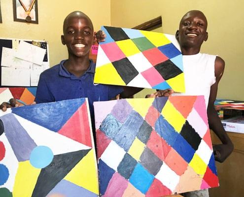 Boys proud of their art work