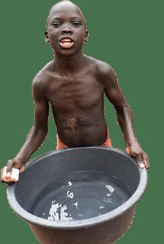 Street boy washing