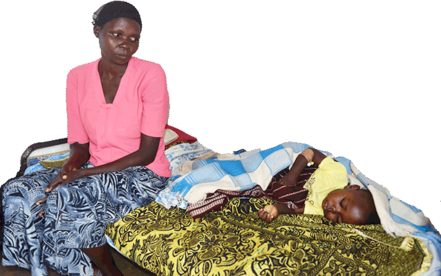 Mother with her ill child at the clinic