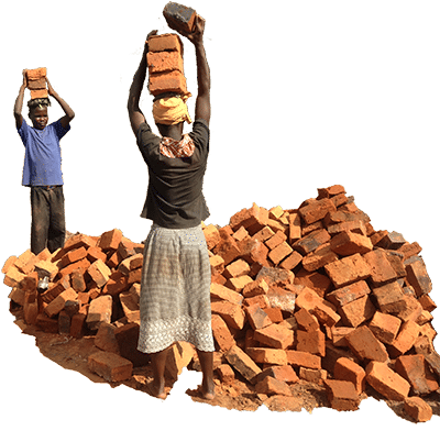 Children carrying bricks to build a house