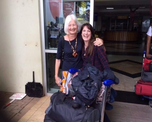 Katie arriving in Entebbe