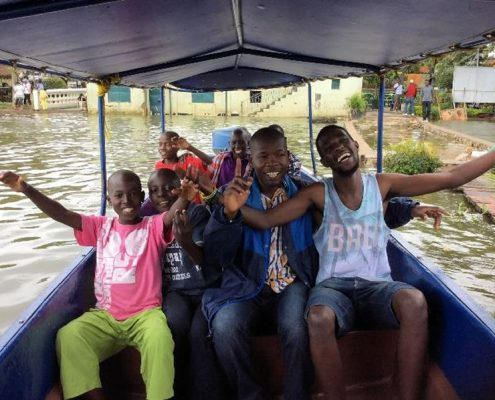 Street boys on the boat ride