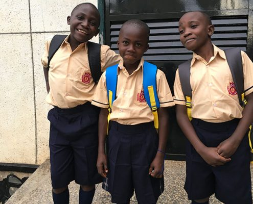 Some of the boys ready for school