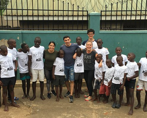 The street children in their new T shirts