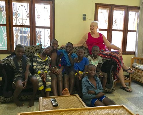 Jackie with some of the street children