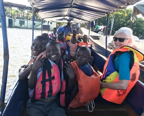 The street children on a boat trip